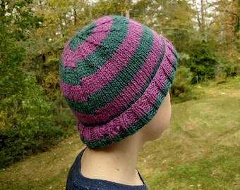 Raspberry Teal Alpaca Striped Hat