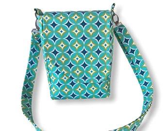 "Mid-century modern geometric print crossbody bag, mini messenger style, teal, navy, & yellow, 8.5""x6""."