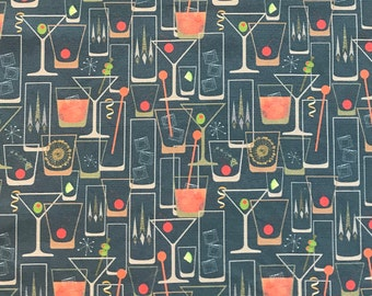 """Midcentury Modern cocktail print tea towel,  26"""" x17"""",  linen cotton fabric, Hostess gift, Pop of color for your kitchen or bar!"""