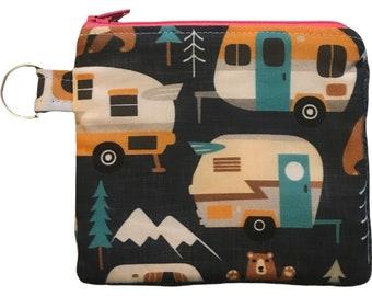 "Retro camper coin purse, Vintage trailer pouch,  5""x4.5"",  Linen cotton artisan fabric."