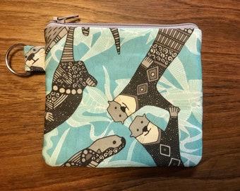 "Otter zippered coin purse, Otter pouch, 5""x4.5"" artisan linen and cotton small bag."