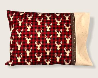 Travel Pillow for Elk Enthusiast, sportsman's pillow, 12'x17' pillow case, 100% cotton, machine washable. Hidden seams.