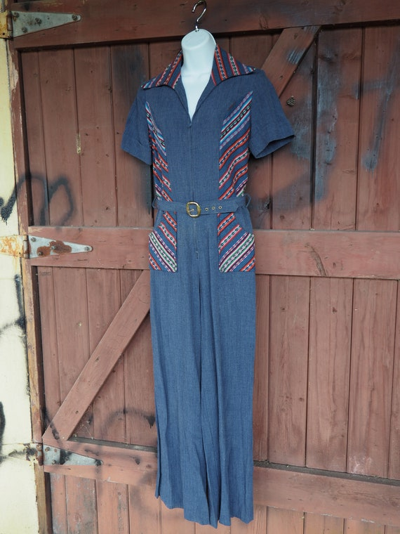 70s Belted Denim Jumpsuit With Colorful Embroidere