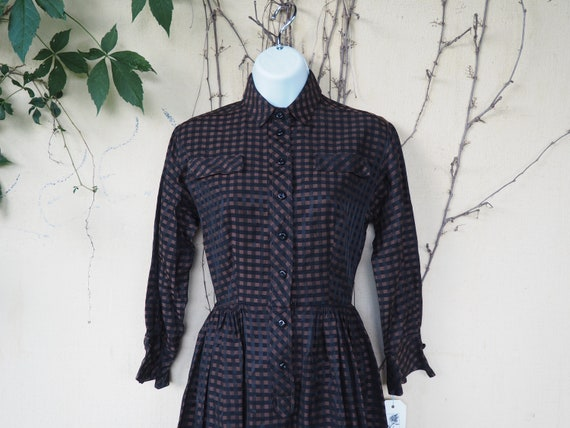 True Vintage 50s Black and Brown Checkered Shirt D