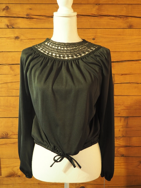 Vintage 70s Does Victorian Witchy Macrame Neckline
