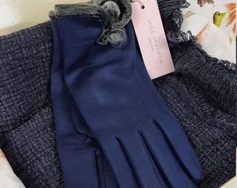 Navy Scarf & Glove Set