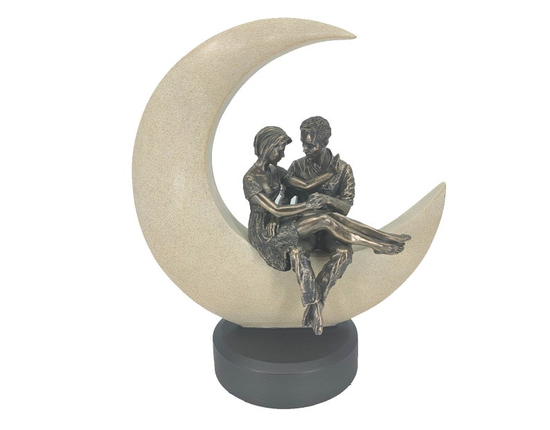 Couple in Love Sitting on The Moon Statue Gift for Her Home Decor Shelf Accessory