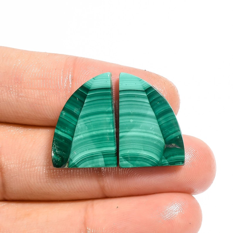 Classic Top Grade Quality 100/% Natural Malachite Fancy Shape Cabochon Loose Gemstone Pair For Making Earrings 20X14X3 mm D-956 23 Ct