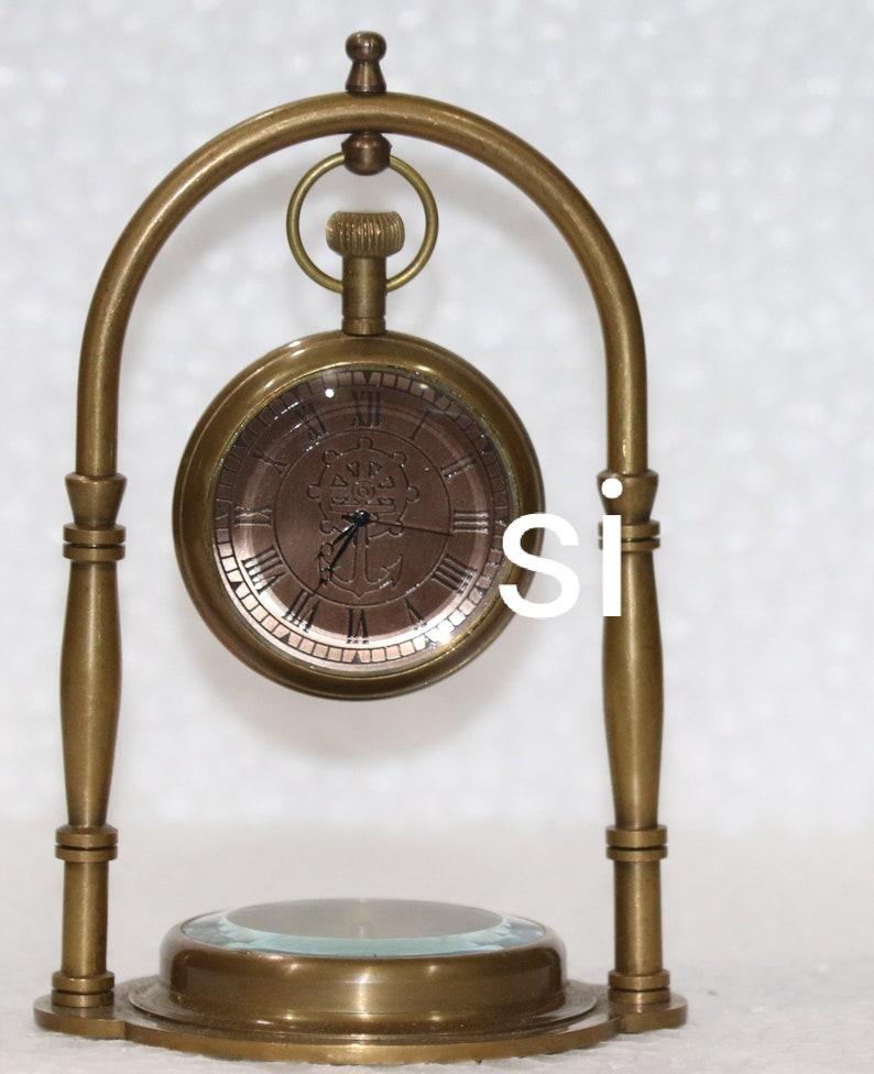 Antique Nautical Wheel Anchor  Brass Table Top Decor Clock with Compass