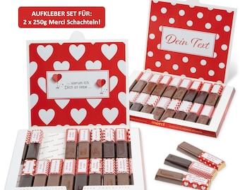 Ich liebe Dich | Aufkleber Set für Merci Schokolade |  für 2 personalisierte Geschenke | Wunderschöne Liebeserklärung  | Netti Li Jae ®