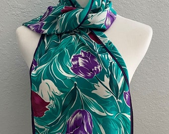 Large Tulip Print Cotton Ladies Scarf