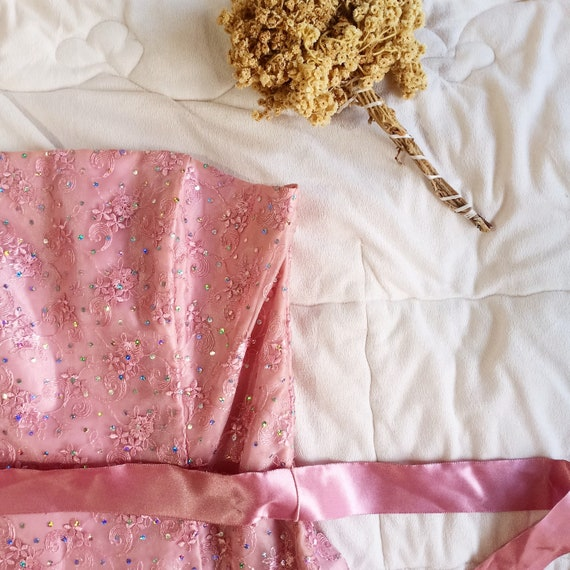 Jessica McClintock sparkling pink prom bustier str