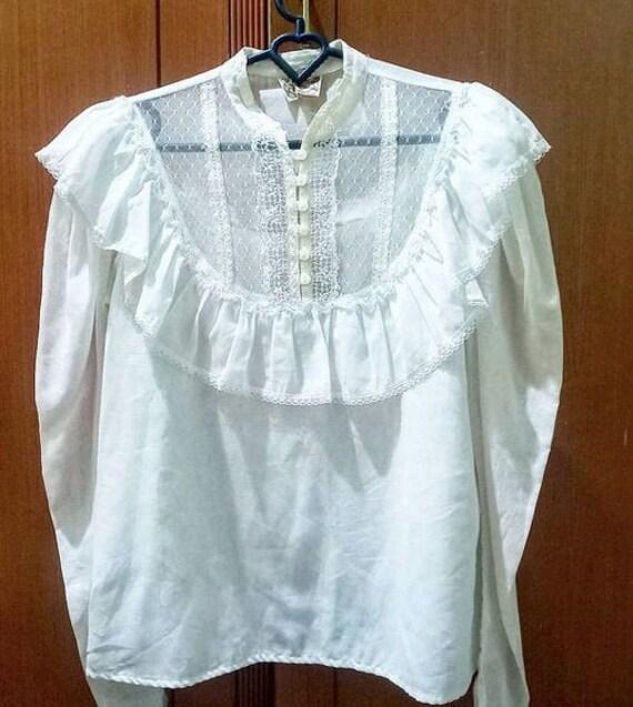 Gunne Sax 80's prairie blouse batiste cotton lace
