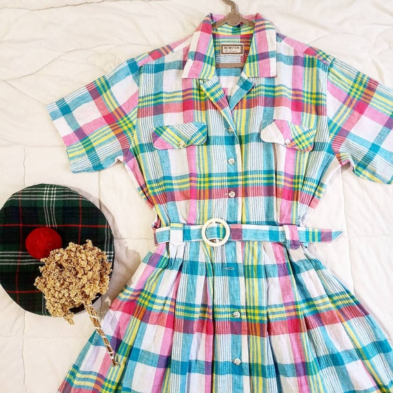 Rainbow pink-tosca plaid 40's vintage style plaid