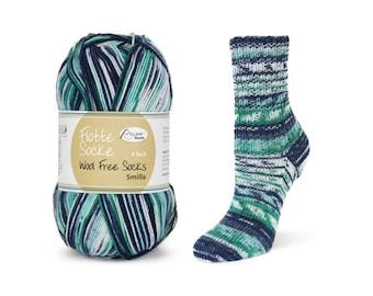 vegan, wool-free sock yarn Rellana WollFree Smilla, marine white petrol
