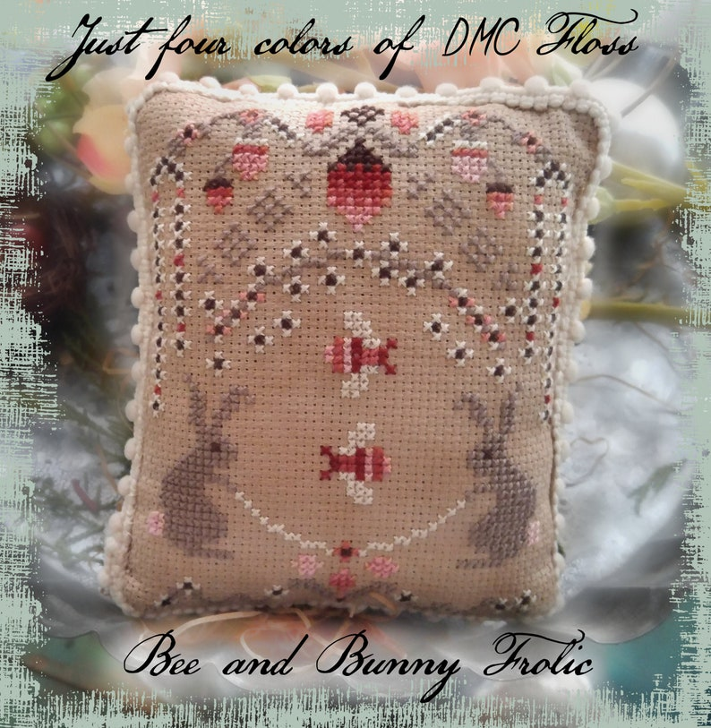 CHART Bee and Bunny Frolic Counted Cross Stitch e-Pattern  image 0