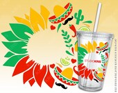 Cinco de Mayo Sunflower Starbucks Cup SVG Full Wrap Presized for 24oz Cold Cup Cut File