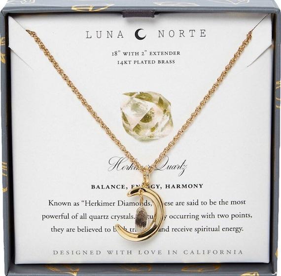 Luna Norte 14KT Laiton Plaqué Quartz Gemme Boucles d/'oreilles cyanite Dangle Ovale Charms