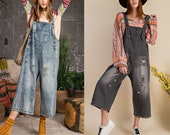 Sanforized washed denim overalls, distressed detail cute relaxed workwear, Vintage utility retro wide leg cotton jumpsuits pants with pocket