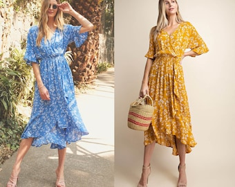 Floral Surplice Overlap High and Low Dress with Luxuriant Ruffle, Ditsy print V-neck Wrap Midi Dress, Flower print Short Sleeves Midi Dress
