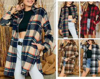 Plaid Shirt 80s Grunge Thick Flannel Shirt Button Up GRANDDAD Band Collar 90s Vintage Long Sleeve Hipster Lumberjack Retro Overshirt Large