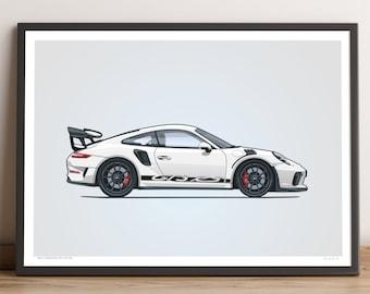 LIMITED: Porsche 911 GT3 RS Poster (White) — Porsche Poster, 991.2 Porsche 911 GT3 RS Gift