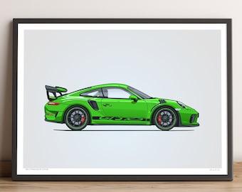 LIMITED: Porsche 911 GT3 RS Poster (Lizard Green) — Porsche Poster, 991.2 Porsche 911 GT3 RS Gift