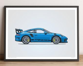 LIMITED: Porsche 911 GT3 RS Poster (Miami Blue) — Porsche Poster, 991.2 Porsche 911 GT3 RS Gift