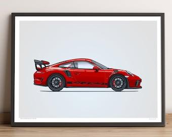 LIMITED: Porsche 911 GT3 RS Poster (Guards Red) — Porsche Poster, 991.2 Porsche 911 GT3 RS Gift