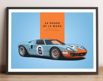 LIMITED RUN: Ford GT40 Poster — Le Mans Poster for the Ford GT40 MK I