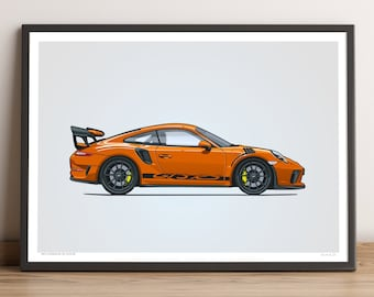 LIMITED: Porsche 911 GT3 RS Poster (Lava Orange) — Porsche Poster, 991.2 Porsche 911 GT3 RS Gift