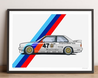 LIMITED: BMW E30 M3 DTM poster — classic bmw poster for motorsport touring car lovers