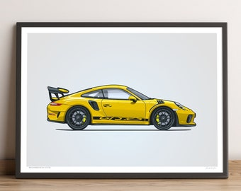 LIMITED: Porsche 911 GT3 RS Poster (Racing Yellow) — Porsche Poster, 991.2 Porsche 911 GT3 RS Gift