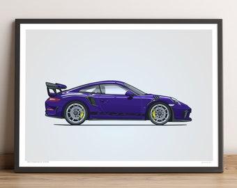 LIMITED: Porsche 911 GT3 RS Poster (Ultra Violet) — Porsche Poster, 991.2 Porsche 911 GT3 RS Gift