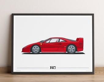 LIMITED RUN: Ferrari F40 Poster — 80s Supercar Icon with a Ferrari Poster