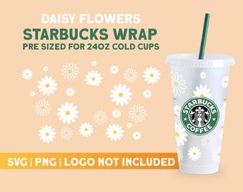 Starbucks Full Wrap Daisy SVG for Starbucks Venti Cold Cup, Cut File Cricut, Starbucks Cup Svg, Digital Download