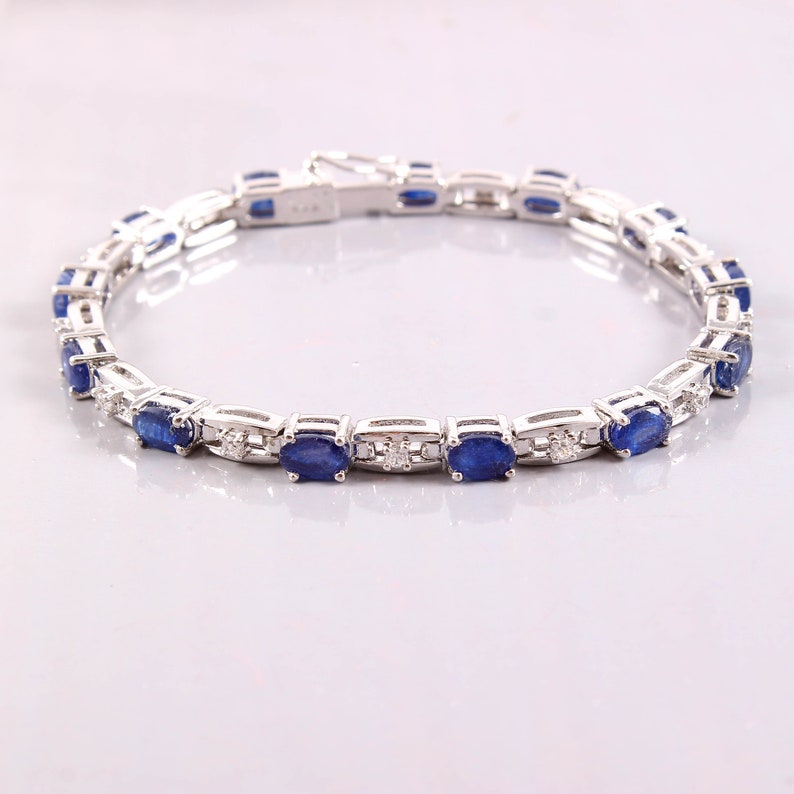 Brilliant Oval Cut Blue Sapphire Engagement Bracelet Natural Blue Sapphire Jewelry Natural Blue Sapphire Bracelet