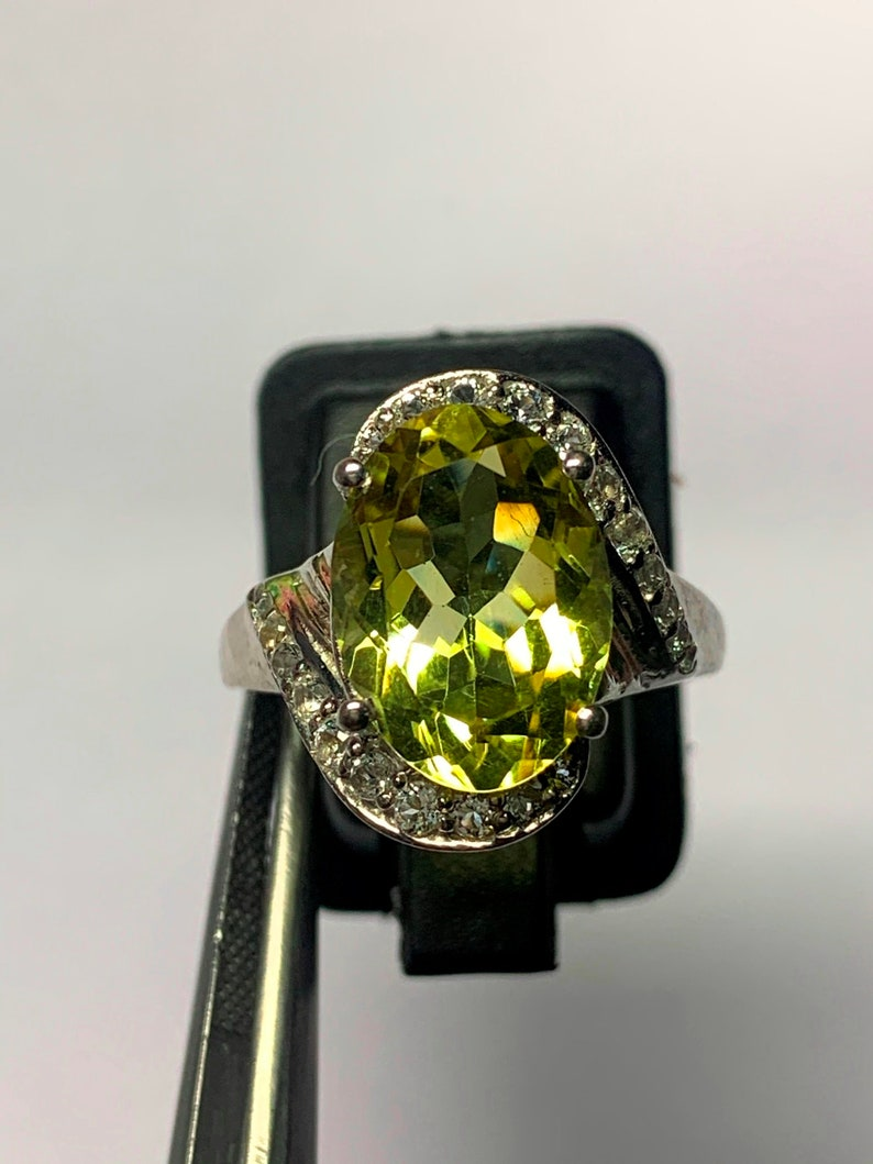 Natural Leman topez Ring-Handmade Silver Ring-925 Sterlinr Ring Stone Oval Leman topez Ring-Promise Ring-November Birthstone Ring
