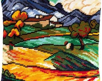 "Van gogh needlepoint kits ""Mount Gossier and St. Paul's Farm"", DIY Needlepoint Pillow Kit, Tapestry kit, Embroidery kit, Printed Canvas"