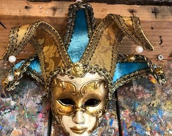 Maske Venedig und Rosa Echt Fasching Venetian 429 Colombine Gold
