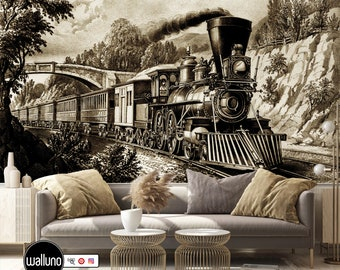 show original title Details about  /3D Train Mountain Tree C505 Car Wallpaper Wall Mural Self Adhesive Removable Wendy