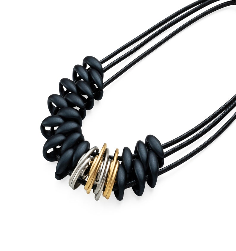 Gold Plated Necklace Modern Statement 24k Gold Plated 925 Silver Plated Spiral Elements With Acrylic Beads 3 Length Cotton Cords Necklace.