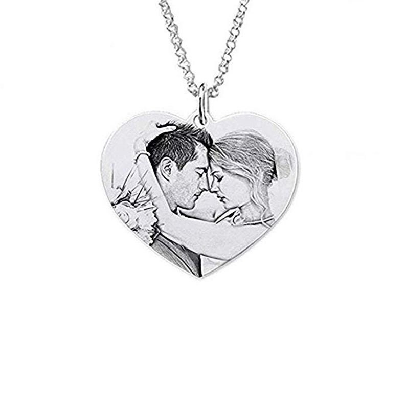 Personalised 925 Sterling Silver Engraved Heart Photo Pendant Necklace