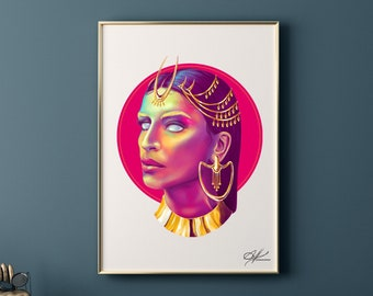 Calypso - Original Digital Painting | Egyptian Queen, Woman Art, Magic Princess, Greek Goddess, Gold Jewelry, Sorceress, Pop Art, Cleopatra