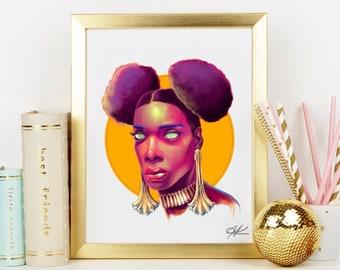 Demetra - Original Digital Painting | Black African Queen, Black Woman Art, Women Empowerment, Black Goddess, Black People Art, Beauty Queen