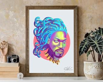 Odin - Original Digital Painting | African King, Black  Royalty, Big Hair Art, Urban Art, Black Beauty, Dope Black Art, Black Man Portrait
