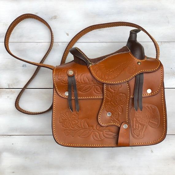 Saddle Purse Western Leather Purse Vintage Handbag