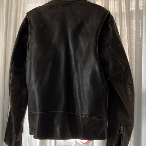 Vintage heavyweight real leather motorcycle jacket - image 7
