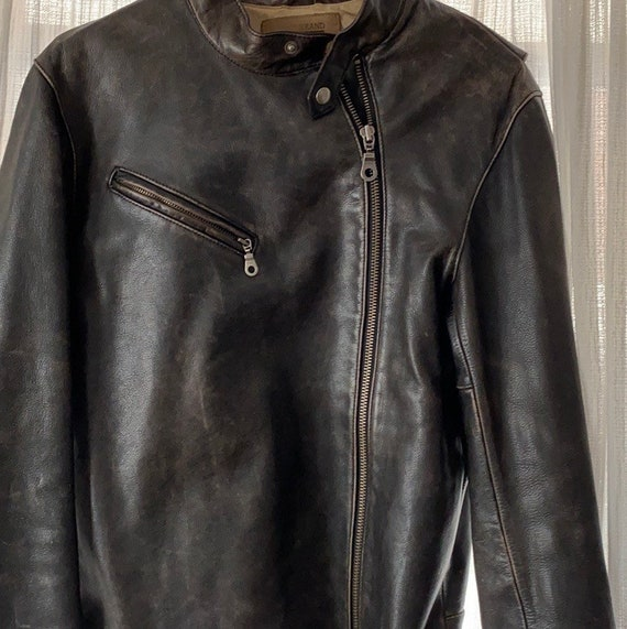Vintage lined leather motorcycle jacket