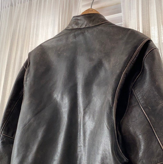 Vintage heavyweight real leather motorcycle jacket - image 5